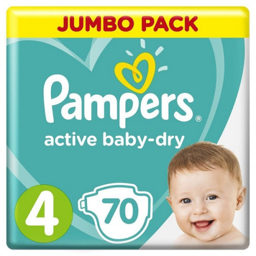 PAMPERS Подгузники Active Baby-Dry Maxi р.4  (8-14кг) 70шт
