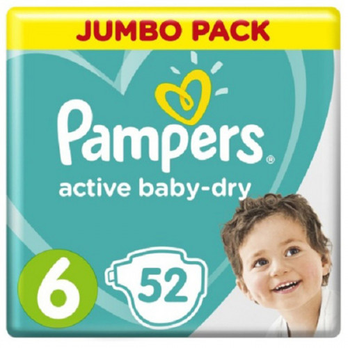 PAMPERS Подгузники Active Baby-Dry Extra Large (13-18 кг) Упаковка 52