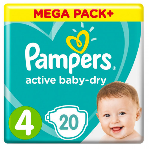 PAMPERS Подгузники Active Baby-Dry Maxi р.4  (9-14кг) 20шт